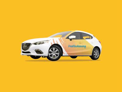 "Profilo Assume ""Car"" yellow advertising car vector identity graphic design logos logo brand branding"