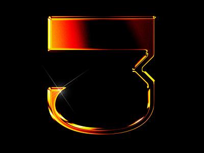third ³ glow font design typography photoshop 3d 36days 36daysoftype three cyberpunk texture chrome type chrome chrometype icon illustration font
