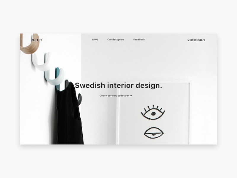 Swedish interior design responsive mobile store free freebie ressource design adobe template xd ux ui
