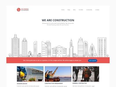 Construction website layout layout web estate buildings city line art constructions website