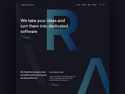 Reason Apps Homepage technology tech blue minimal layout dark homepage web website