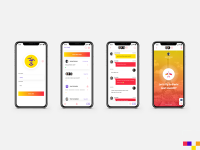 Jester App Idea layout logo jester yellow red colorful bright concept messaging app