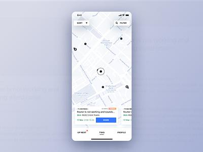 Tech Support Service UI pin map design app ux ui