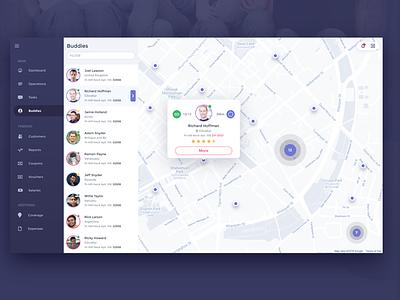 Tech Support Service App Admin Panel list user mapa design flat web app ux ui