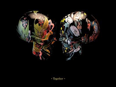 Together 3dillustration illustration skull lighting render 3d cinema 4d design physical render c4d
