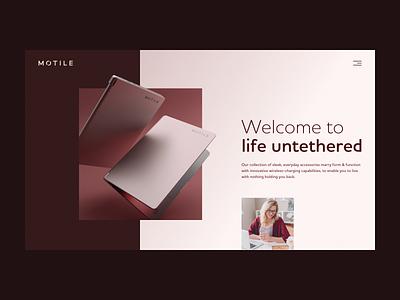 Motile homepage website branding pink design web design cinema 4d lighting c4d 3d coronarender webdesign web motile