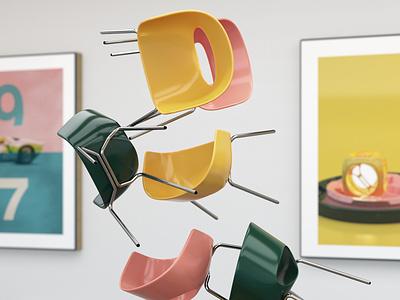 Chairs lighting cinema 4d chair yellow 3d coronarender c4d