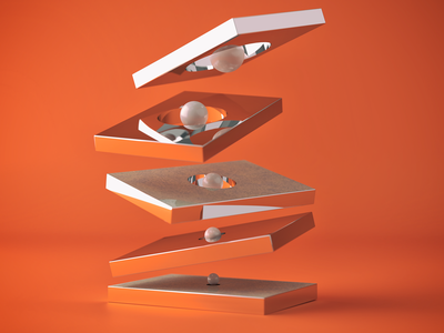 Simple Shapes orange render lighting 3d cinema 4d coronarender c4d