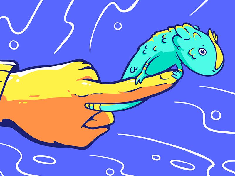 Lil lizard on normal size hand lizard drawing hand animal orange yellow blue 2d cartoon illustration