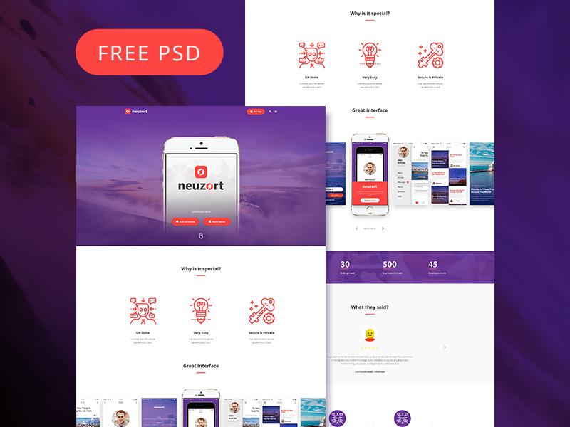 Neuzort Landing Page (Free PSD)