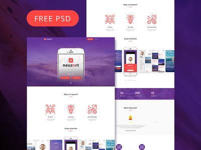 Neuzort Landing Page (Free PSD) psd app mobile design web marketing landing page freebie free