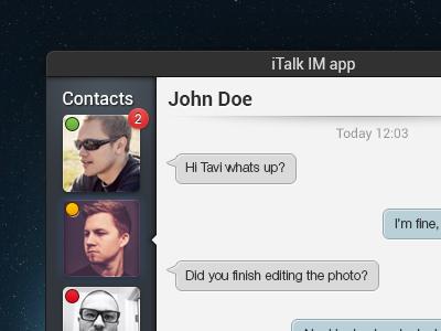 iTalk IM app concept concept app im messenger chat talk adobe photoshop sharp