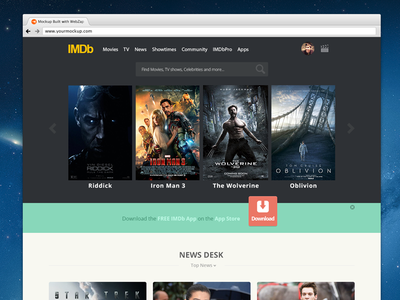 IMDb flat Redesign imdb flat redesign design photoshop google colorfull movies tv shows recommended news website