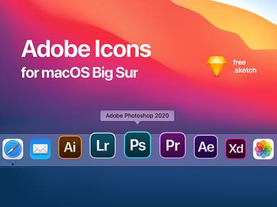 Adobe Icons for macOS Big Sur (Free Sketch File) download app iconset freebie lightroom adobe xd premiere pro after effect illustrator photoshop replacement icons macos big sur apple mac adobe sketch free