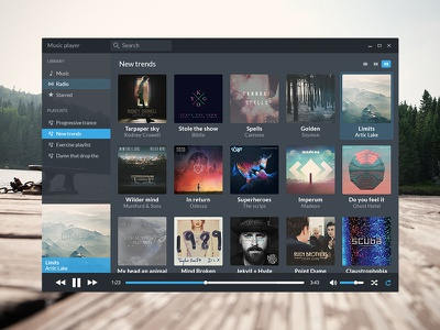 Music App app ui ux black dark blue clean color concept design flat music