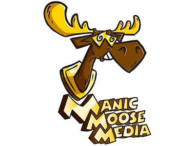 Manic Moose Media Logo branding moose illustration logo