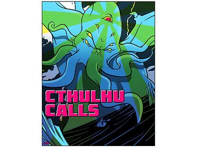 Cthulhu Calls rock monster poster