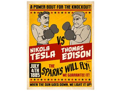 Tesla Edison Fight caricature illustration edison tesla