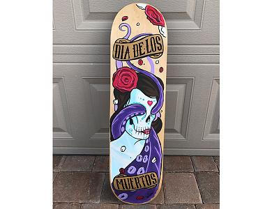 Dia De Los Muertos Board acrylic paint custom skateboard