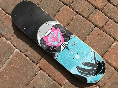 Discoveries acrylic painting skatedeck custom skateboard