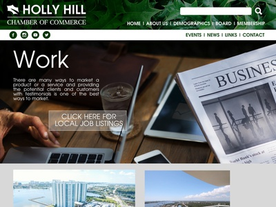 Holly Hill Chamber of Commerce Website Concept web design