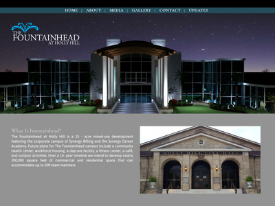 The Fountainhead at Holly Hill website design