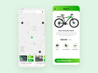 Android App Design for Rent Cycle cycle rent ux design clean ui