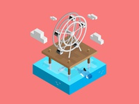 Ferris Wheel orca ferris wheel illustration dimensional illustration ocean color isometric