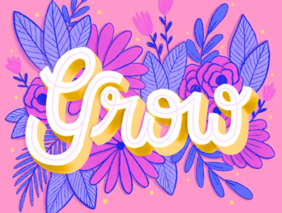 Grow floral design procreate artist goodtype type daily lettering art bardot brush typespire type art hand drawn hand lettering procreate lettering procreate art procreate botanical illustration flower illustration lettering illustration floral