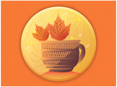 Tea Season   Fall Season Badge cup tea badge fall season ui graphic design design branding logo udaipur photoshop illustration