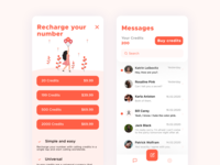 Texter: 2nd Number for Texting number unread credits search popup design recharge texter messages iphonexs figma button subscription ui ios app design