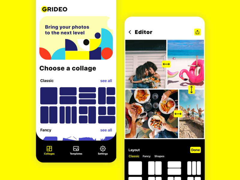 Grideo Grid Maker & Pic Editor application tabbar share button share ilustration tool iphonexs app design picture editor collagetemplate template photo figma sketch userinterface grid collagemaker collage app