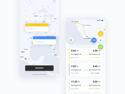 Ticket booking app tickets iphone x booking app booking car driver trains buses time maps map search ios ui design app app concept