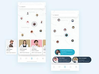 Reacha Redesign mobile pins pin profiles maps iphone x ios app design