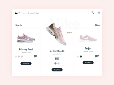 Nike Concept buttons shoes typography design search app concept ui app nike tablet