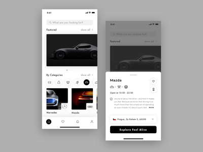 Online business platform business featured categories dropdown platform cars icons photo tabbar tab view button iphonexs ui search app ios design
