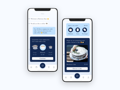 Service Restaurant Chatbot.🤖🤖 restaurant service order price tab bar cake coffee choosed identity buttons emoji conversation chatbot chat ui iphonexs app concept app ios design