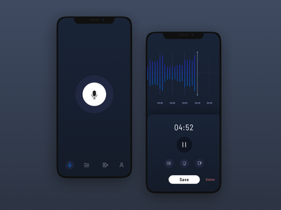 Recording Screen - Dark mode 🙌🏼😊 time icons buttons recorder redesign minmal timeline pause record button recording screen recording katarina ondrejickova okatarina darkmode iphonexs button ui app ios design