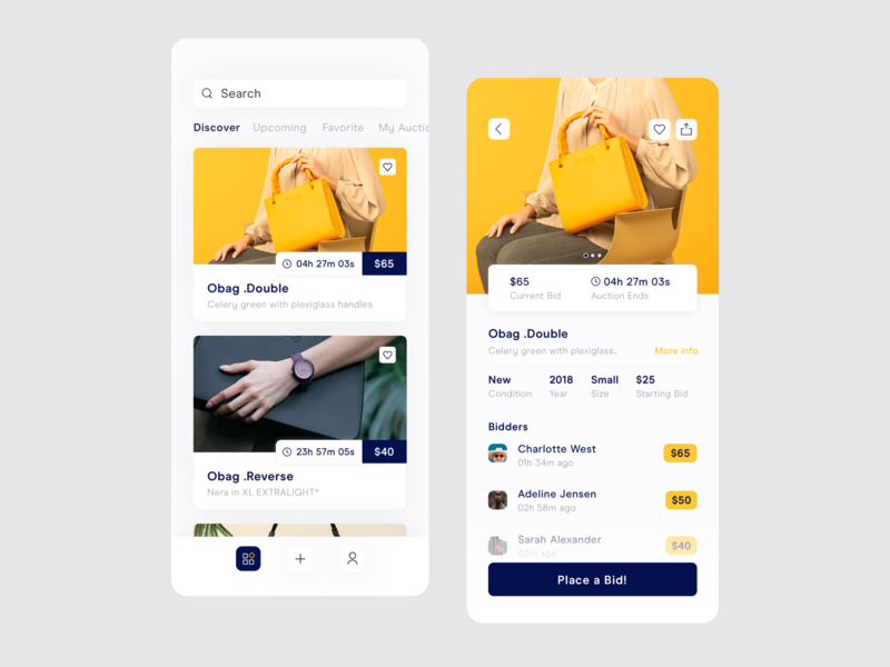 Auction iOS app cards favorites share auctions search button time app concept productdesign detail homescreen profile add discover bidders bid auction ios ui design
