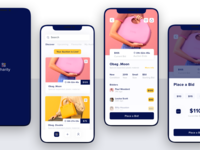 Charity auction app cashier money productscreen launchscreen dashboard placeabid bit buttons sketchapp designs figma sketch ui iphonexs auctions auction charity ios app design