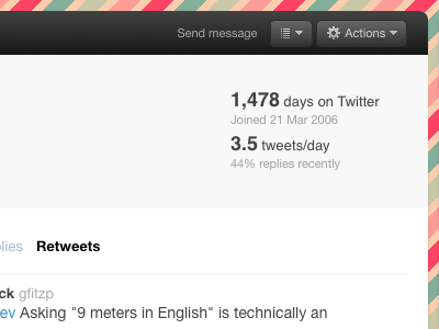 Profile stats actions twitter