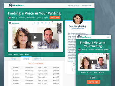 OneRoom Class Listing Page video schedule class responsive