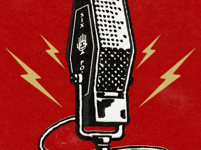 Podcast mic graphic red illustration design graphic