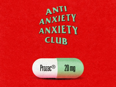 Anti Anxiety Anxiety Club red design illustration