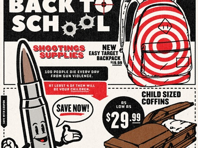 Back To School Shootings Sale red vector illustration design