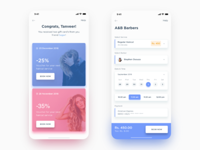Barber App UI design