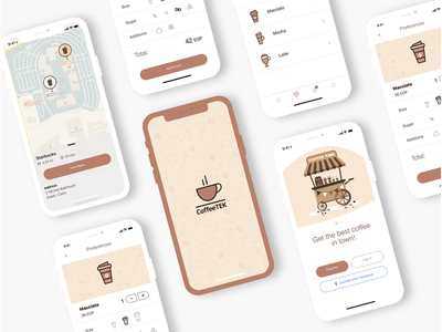 Coffee App - UI Kit animate adobexdautoanimate icon logo adobexd ui design top 5 ui design animation sign in ui sign in online food design mobile ui design branding ios app design vector illustration flat design adobe xd photoshop