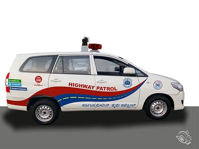 Vehicle Branding For Karnataka State Police bangalore karnataka highway police graphic designs illustrations vehicle graphics concept design vehicle branding