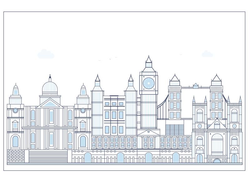 London as I Imagine vector simple landscape landmark flat  illustration graphics art blue bridge big ben city illustration