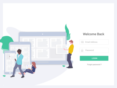 Login Screen for Ideationz mobile tab welcome button product app web illustration ui login-screen login